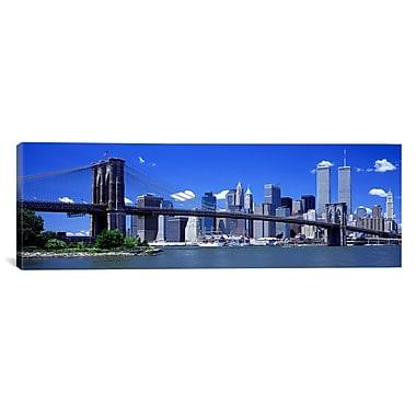 iCanvas Panoramic Brooklyn Bridge Skyline Photographic Print on Canvas; 24'' H x 72'' W x 1.5'' D