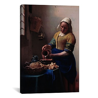 iCanvas 'The Milkmaid' by Johannes Vermeer Painting Print on Canvas; 18'' H x 12'' W x 0.75'' D