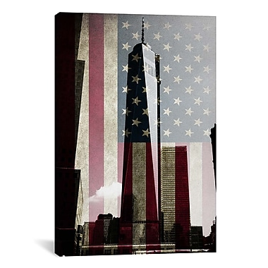 iCanvas Flags New York Freedom Tower Graphic Art on Canvas; 40'' H x 26'' W x 1.5'' D