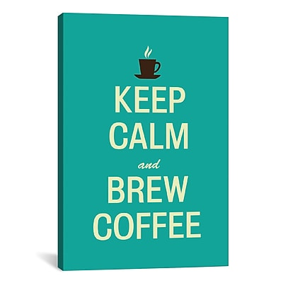 iCanvas Kitchen Keep Calm and Brew Coffee Textual Art on Canvas; 12'' H x 8'' W x 0.75'' D