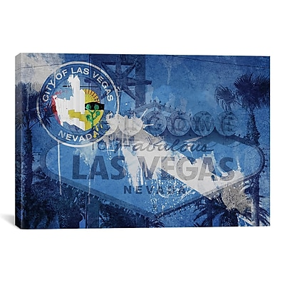 iCanvas Flags Las Vegas Welcome Sign Graphic Art on Canvas; 40'' H x 60'' W x 1.5'' D