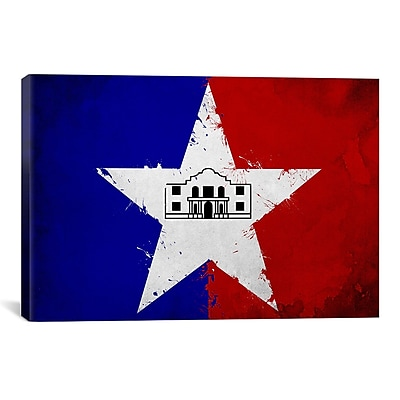 iCanvas San Antonio Flag, Grunge Painting Print on Canvas; 12'' H x 18'' W x 1.5'' D