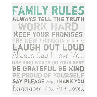 PTM Images Family Rules Textual Art on Wrapped Canvas in Blue