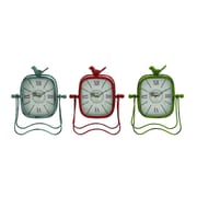 Woodland Imports Bright Colored Metal Table Clock (Set of 3)