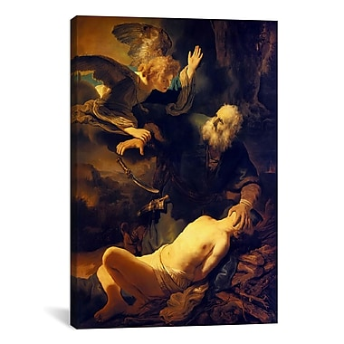 iCanvas 'Abraham and Isaac' by Rembrandt Painting Print on Canvas; 40'' H x 26'' W x 0.75'' D