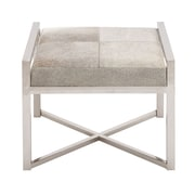 Woodland Imports Stainless Steel Leather Stool; Gray