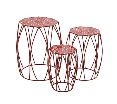 Woodland Imports 3 Piece Pedestal Plant Stand; Red