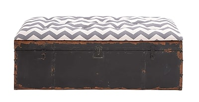 Woodland Imports Rustic Metal Fabric Strong Bench