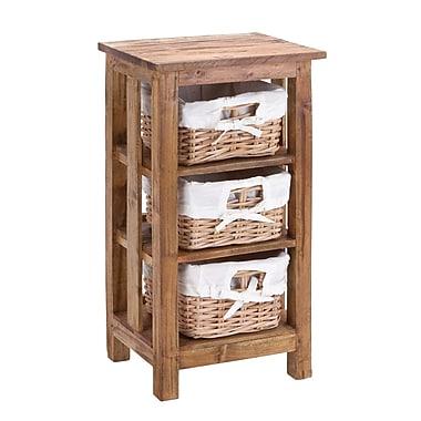 Woodland Imports The Beautiful Wood Mahagony Rattan Basket