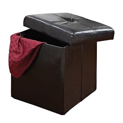 Simplify Single Folding Faux leather Ottoman, Black