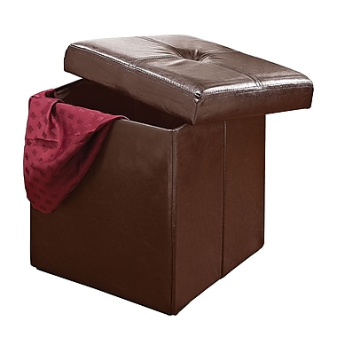 Simplify Single Folding Faux leather Ottoman, Chocolate