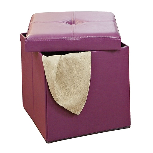 Ottomans Lifestyle Single Ottoman: Simplify Single Folding Faux Leather Ottoman, Purple