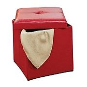 Simplify Single Folding Faux leather Ottoman, Red