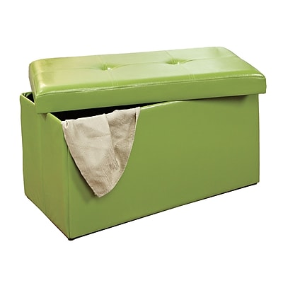 Simplify Double Folding Ottoman Faux-Leather, Lime