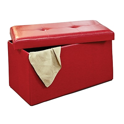 Simplify Double Folding Ottoman Faux-Leather, Red