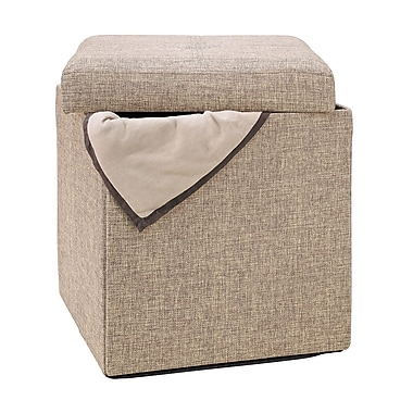 Simplify Collapsible Polyester Jute Storage Ottoman, Natural