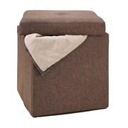 Simplify Collapsible Polyester Jute Storage Ottoman, Espresso