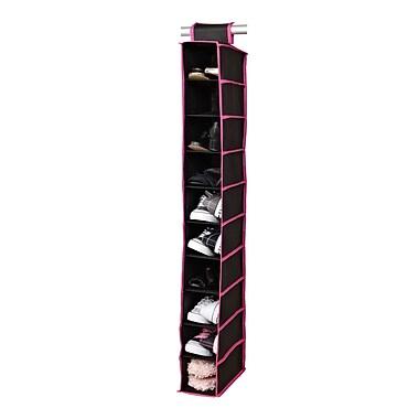 Simplify 10 Shelf Hanging Shoe Organizer Non-woven Shelf Black