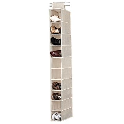Simplify 10 Shelf Shoe Polypropylene/Cardboard Organizer, Off-White