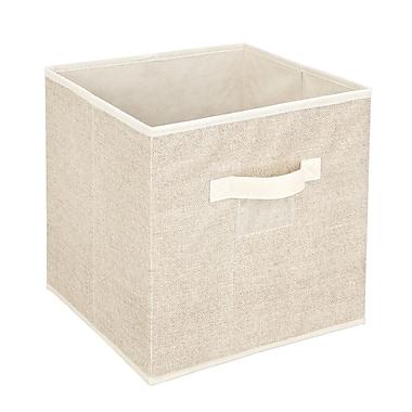 Simplify Faux Jute Polypropylene/Cardboard Box Cube, Off-White