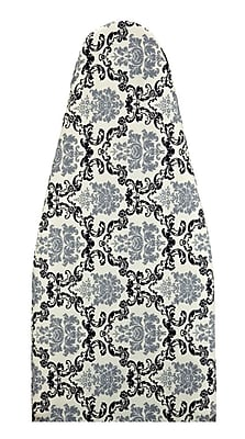 Laura Ashley Cotton Damask Print Ironing Board Cover & Pad, Black & Gray