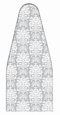 Laura Ashley Cotton Damask Print Ironing Board Cover & Pad, Tatton Grey