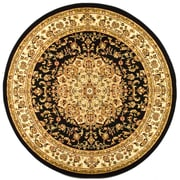 Safavieh Polypropylene Lyndhurst Collection Black & Ivory Round Area Rug 8'