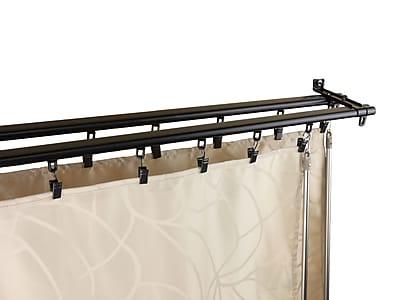 "Rod Desyne 28"" - 48"" Metal Armor Double Curtain Track, Black"