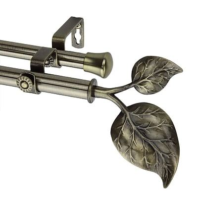 Rod Desyne Metal Double Telescoping Curtain Rod with Ivy Finial, 48