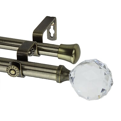 Rod Desyne Metal Modern Faceted Double Curtain Rod, 120