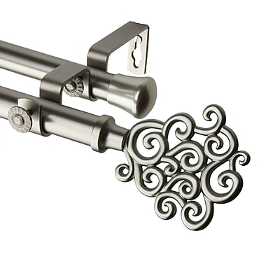 Rod Desyne Metal Double Telescoping Curtain Rod with Tidal Finial, 66