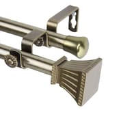 "Rod Desyne Metal Rod, Resin Finial Double Window Curtain Rod, 66"" - 120"""