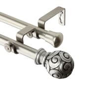 Rod Desyne Steel & Resin Bonbon Satin Nickel Double Curtain Rod