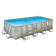 "Pro Series™ Rectangular Metal Frame Swimming Pool, 24'(L) x 12'(W) x 52""(D), Gray"