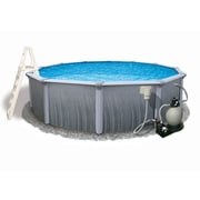 """Blue Wave Martinique Round 7"""" Top Rail Metal Wall Swimming Pool, 18'(Dia) x 52""""(D), Gray"""