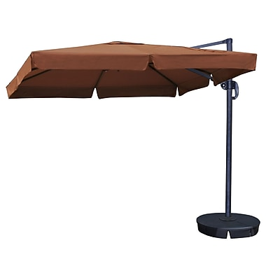 Blue Wave Santorini II 10' Square Cantilever Umbrella With Valance, Terra Cotta Sunbrella Acrylic