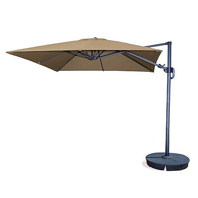 Blue Wave Santorini II Fiesta 10' Square Cantilever Umbrella With Tilt, Stone Sunbrella Acrylic