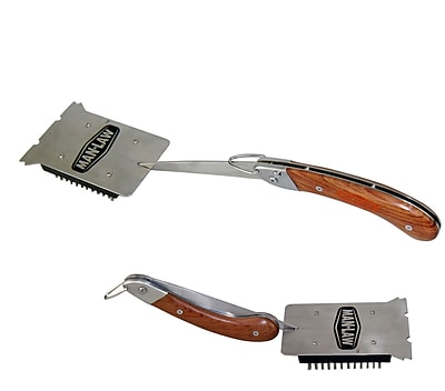 Man Law™ BBQ Heavy Duty Stainless Steel Foldable Grill Brush With Rosewood Handle