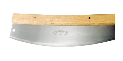 Man Law™ BBQ Stainless Steel Rocker Pizza Cutter With Wood Handle