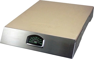 Man Law™ BBQ Pizza Stone With Stainless Steel Rack and Thermometer