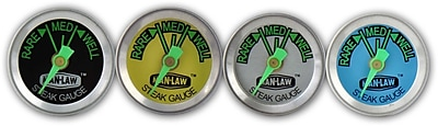 Man Law™ BBQ 4 Piece Stainless Steel Steak Gauge Thermometer Set With Glow-In-The-Dark Dial Face