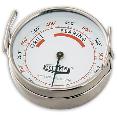 Man Law™ BBQ Stainless Steel Grill Surface Gauge Thermometer With 2.2