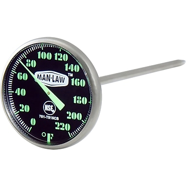 Man Law™ BBQ Stainless Steel Instant Read Gauge Thermometer With Glow-In-The-Dark Dial