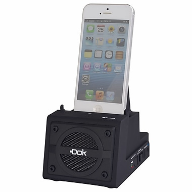 DOK™ 2 Port Smart Phone Charger With Bluetooth Speaker/Speaker Phone/Rechargeable Battery, Black