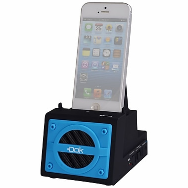 DOK™ 2 Port Smart Phone Charger With Bluetooth Speaker/Speaker Phone/Rechargeable Battery, Blue