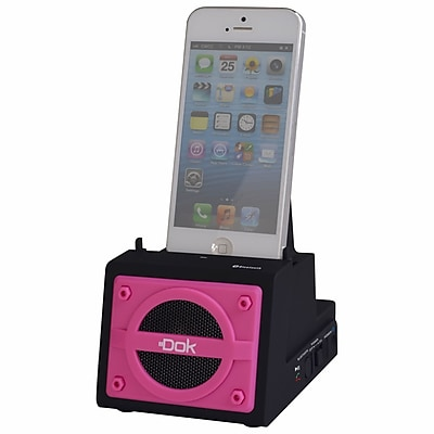 DOK™ 2 Port Smart Phone Charger With Bluetooth Speaker/Speaker Phone/Rechargeable Battery, Pink