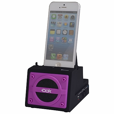 DOK™ 2 Port Smart Phone Charger With Bluetooth Speaker/Speaker Phone/Rechargeable Battery, Purple