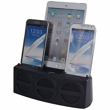 DOK™ 3 Port Smart Phone Charger With Speaker, Black