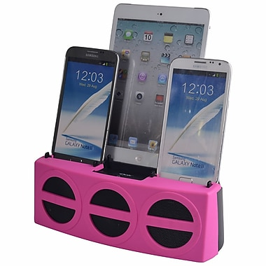 DOK™ 3 Port Smart Phone Charger With Speaker, Pink