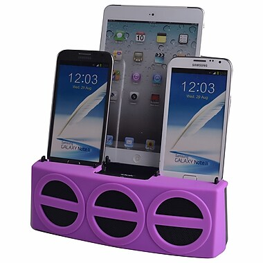 DOK™ 3 Port Smart Phone Charger With Speaker, Purple